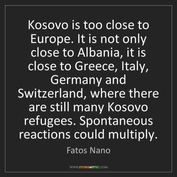 Fatos Nano: Kosovo is too close to Europe. It is not only close to...