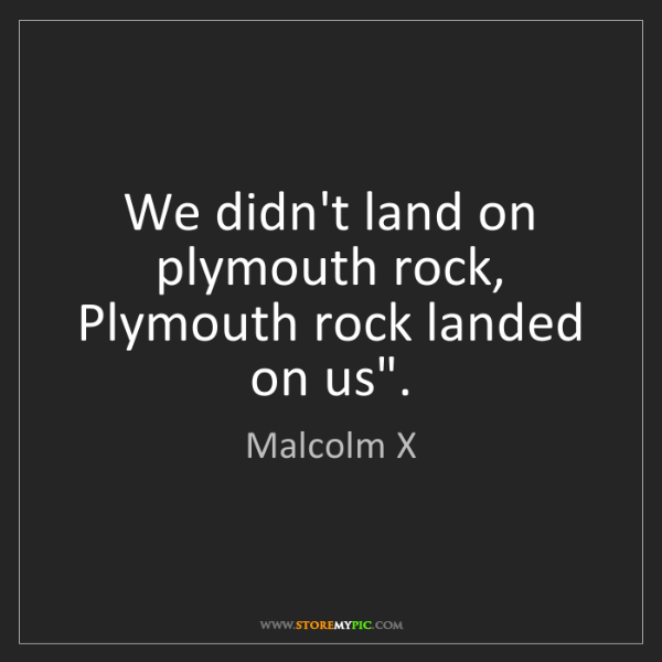 Malcolm X We Didn T Land On Plymouth Rock Plymouth Rock