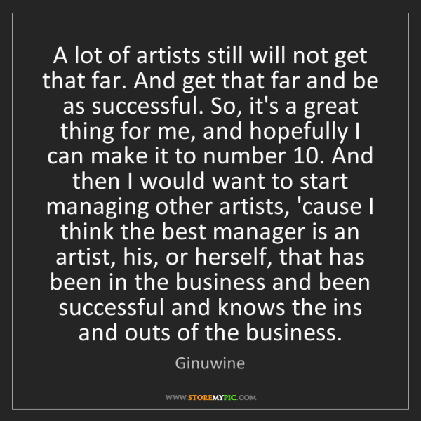 Ginuwine: A lot of artists still will not get that far. And get...