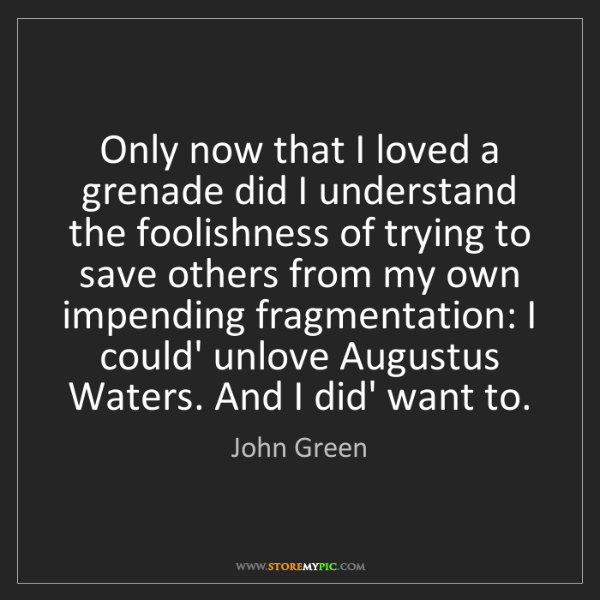 John Green: Only now that I loved a grenade did I understand the...