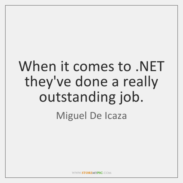 When it comes to .NET they've done a really outstanding job.