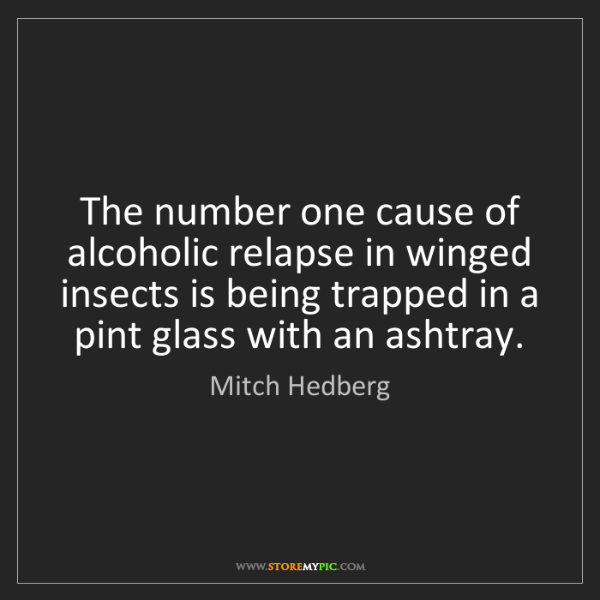 Mitch Hedberg: The number one cause of alcoholic relapse in winged insects...