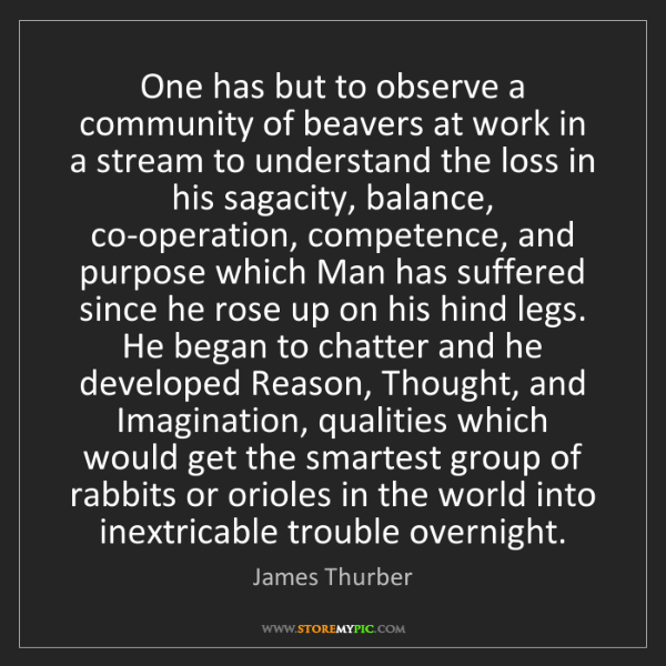 James Thurber: One has but to observe a community of beavers at work...