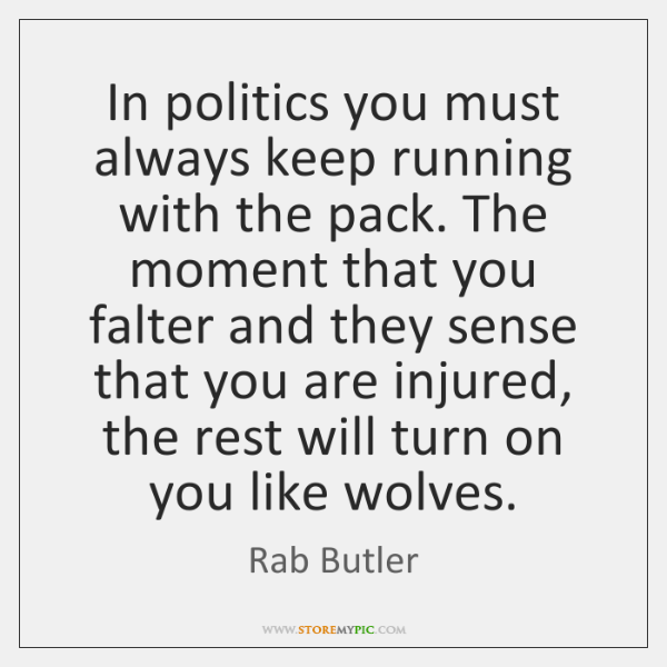 In politics you must always keep running with the pack. The moment ...