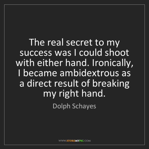 Dolph Schayes: The real secret to my success was I could shoot with...