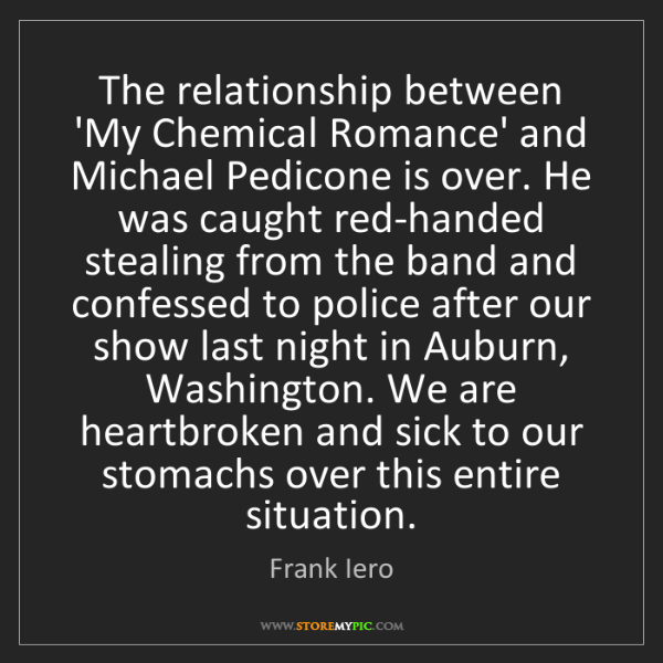 Frank Iero: The relationship between 'My Chemical Romance' and Michael...