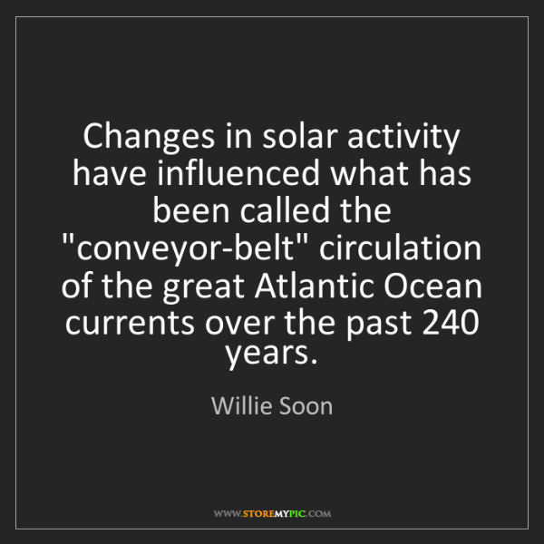Willie Soon: Changes in solar activity have influenced what has been...
