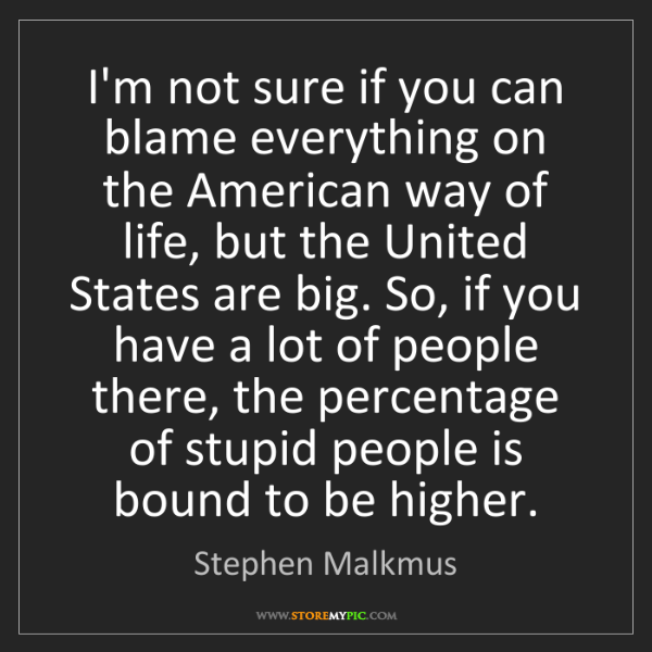 Stephen Malkmus: I'm not sure if you can blame everything on the American...