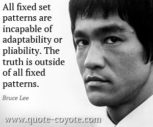 All fixed set patterns are incapable of adaptability or pliability bruce lee