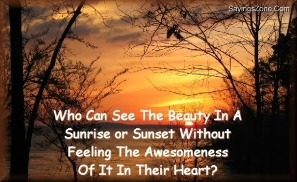 Who can see the beauty in a sunrise or sunset without feeling the awesomeness of it their heart