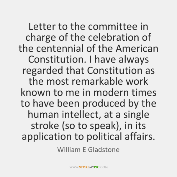 Letter to the committee in charge of the celebration of the centennial ...