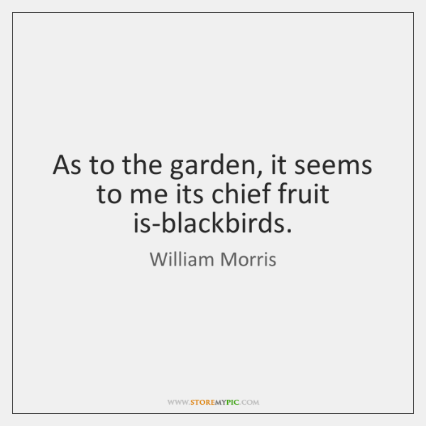 As to the garden, it seems to me its chief fruit is-blackbirds.