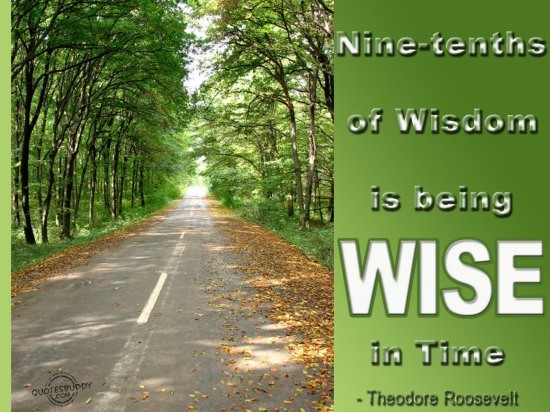 Nine tenth of wisdom is being wise in time