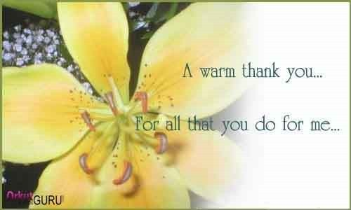 A warm thank you for all that you do for me