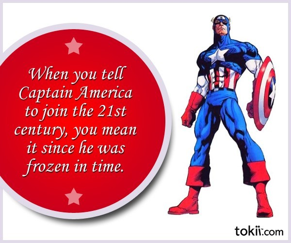 When you tell captain america to join the 21st century you mean it since he was frozen