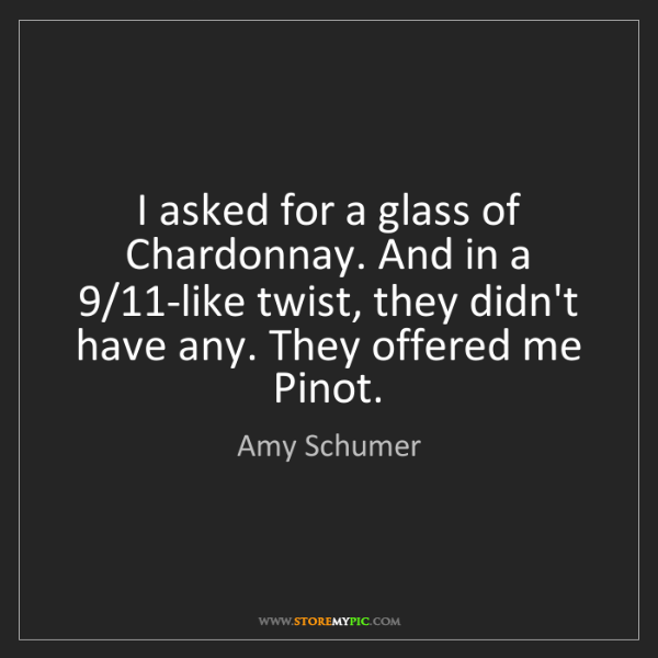 Amy Schumer: I asked for a glass of Chardonnay. And in a 9/11-like...