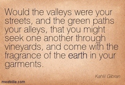 Would the valleys were your streets and the green paths your alleys that you might seek