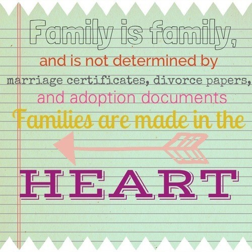Family is family and is determined by marriage certificates divorce papers and adoption documents fa