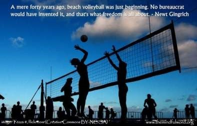 A mere forty years ago beach volleyball was just beginning no bureaucrat would have in