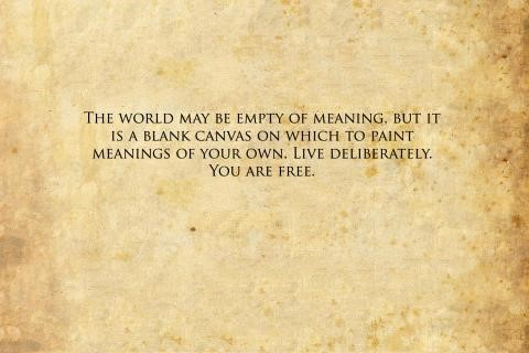 The world may in empty meaning but it is a blank canvas on which to paint meanings for