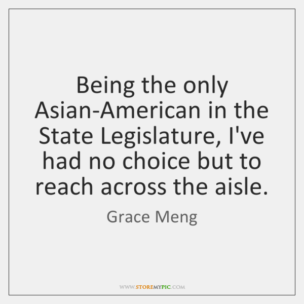 Being the only Asian-American in the State Legislature, I've had no choice ...