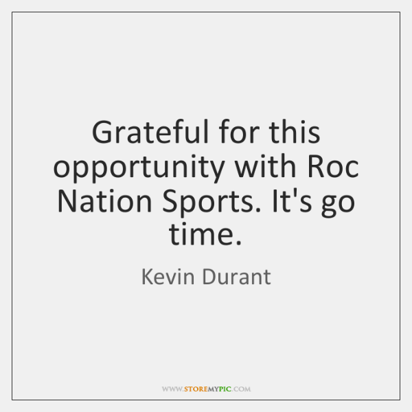 Grateful for this opportunity with Roc Nation Sports  It's