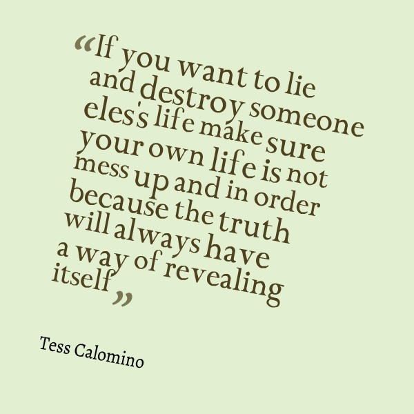 If You Want To Lie And Destroy Someone Eless Life Make Sure Your Own
