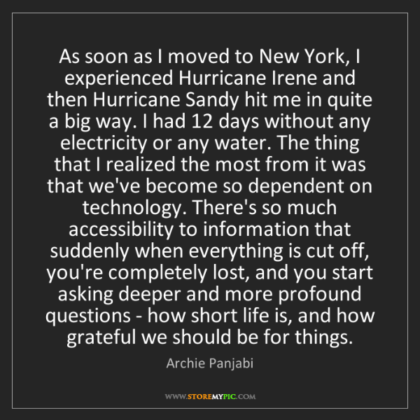 Archie Panjabi: As soon as I moved to New York, I experienced Hurricane...