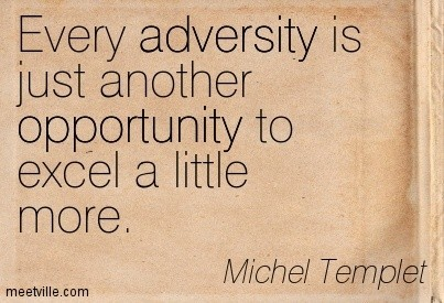 Every adversity is just another opportunity to excel a little more