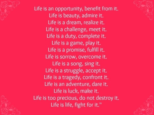 Life Is An Opportunity Benefit From It Life Is Beauty Admire It Life