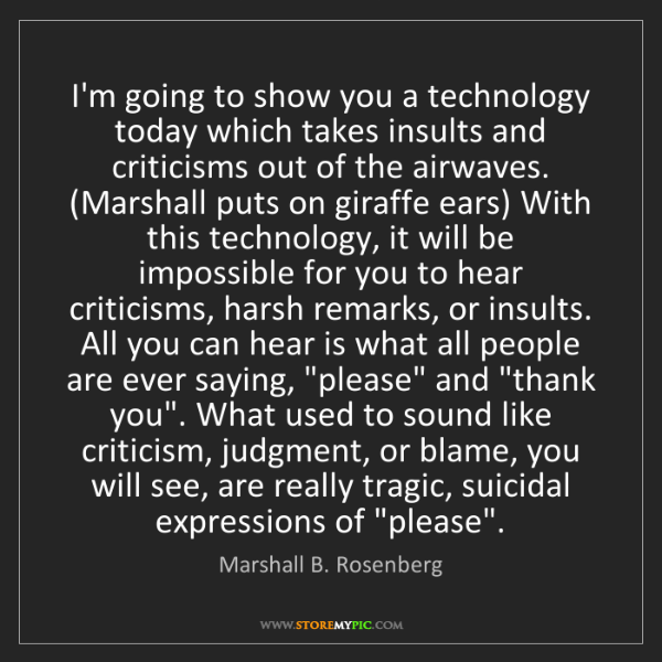 Marshall B. Rosenberg: I'm going to show you a technology today which takes...