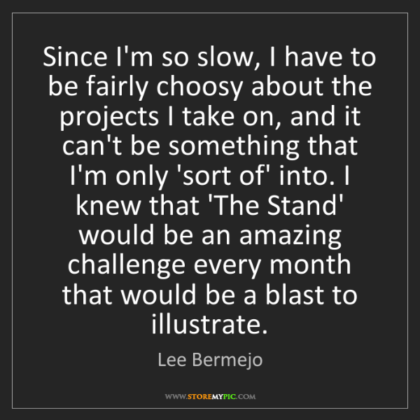 Lee Bermejo: Since I'm so slow, I have to be fairly choosy about the...