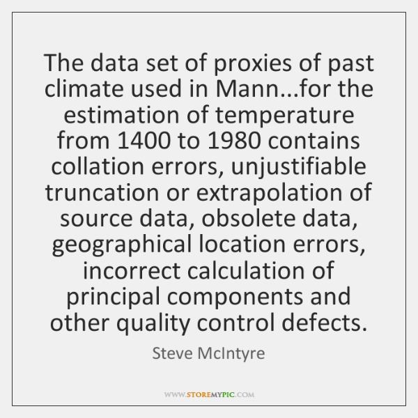The data set of proxies of past climate used in Mann...for ...