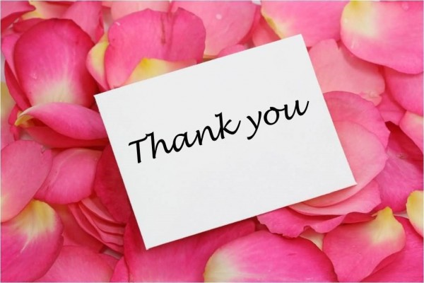 Thank you note on flower