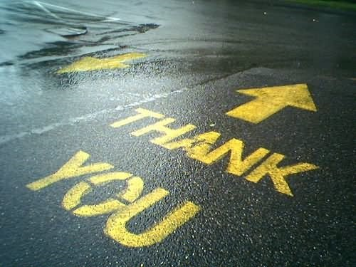 Thank you on road