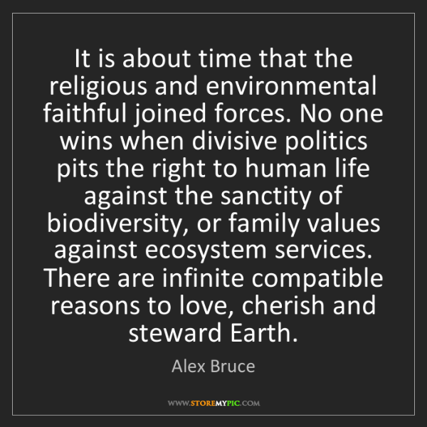 Alex Bruce: It is about time that the religious and environmental...