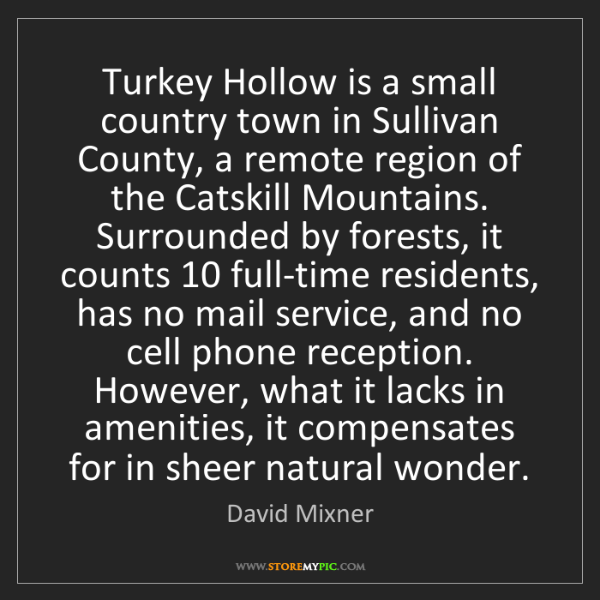 David Mixner: Turkey Hollow is a small country town in Sullivan County,...