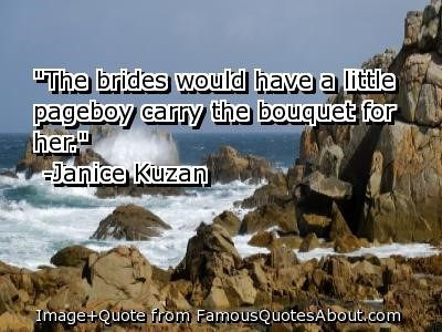 The brides would have a little pageboy carry the bouquet for her janice kuzan