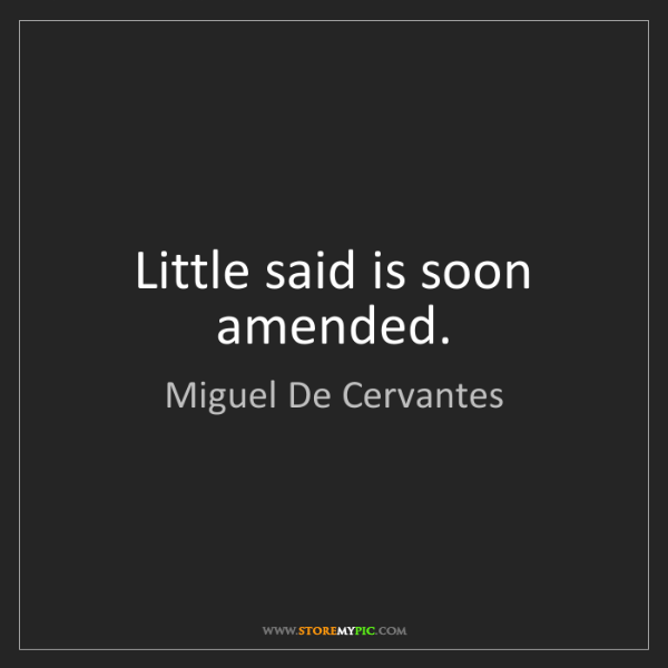 Miguel De Cervantes: Little said is soon amended.