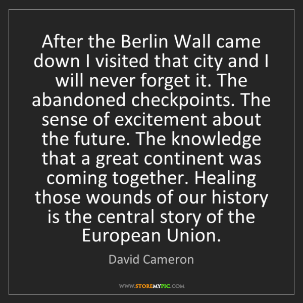 David Cameron: After the Berlin Wall came down I visited that city and...
