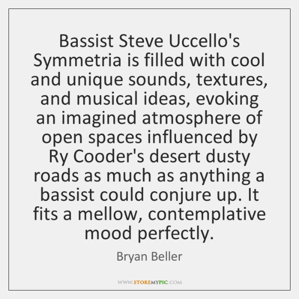 Bassist Steve Uccello's Symmetria is filled with cool and unique sounds, textures, ...