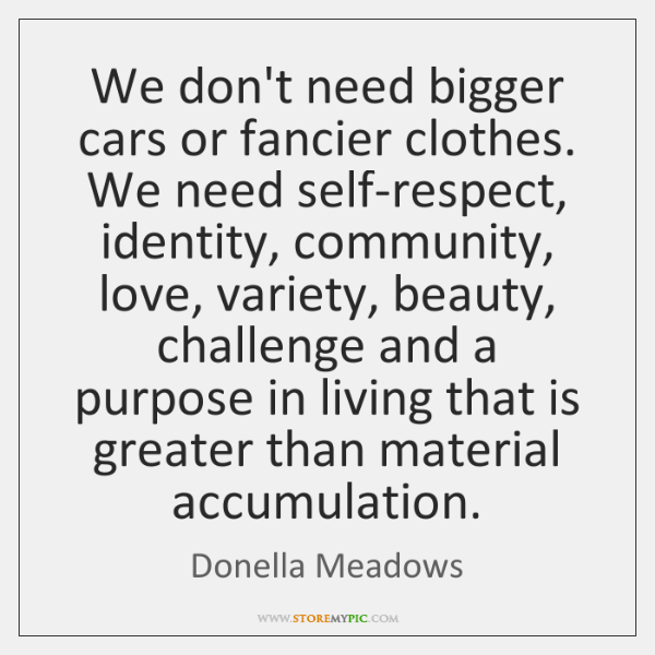 We don't need bigger cars or fancier clothes. We need self-respect, identity, ...