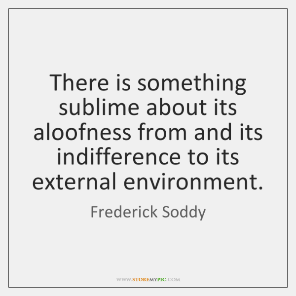There is something sublime about its aloofness from and its indifference to ...