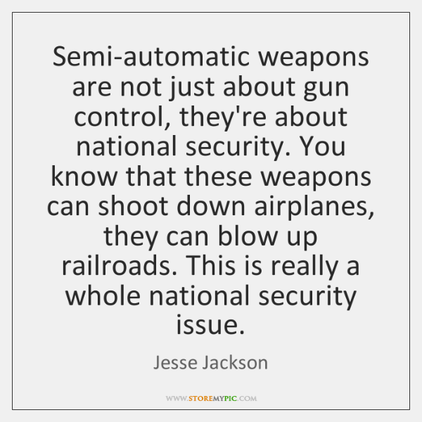 Semi-automatic weapons are not just about gun control, they're about national security. ...
