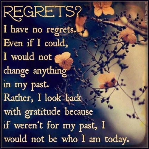 Regrets I Have No Regrets Even If I Could I Wold Not Change Anything