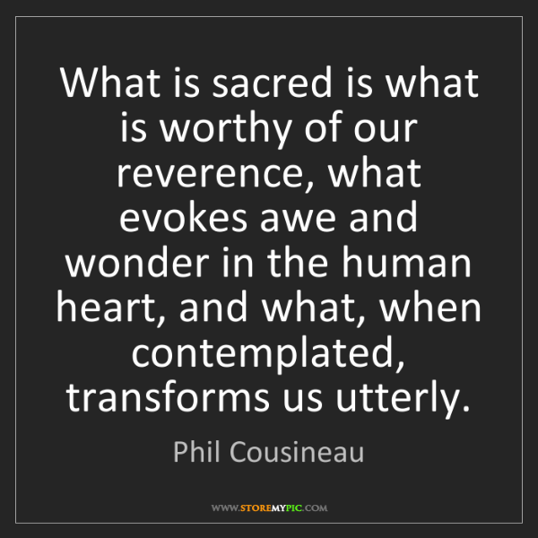 Phil Cousineau: What is sacred is what is worthy of our reverence, what...