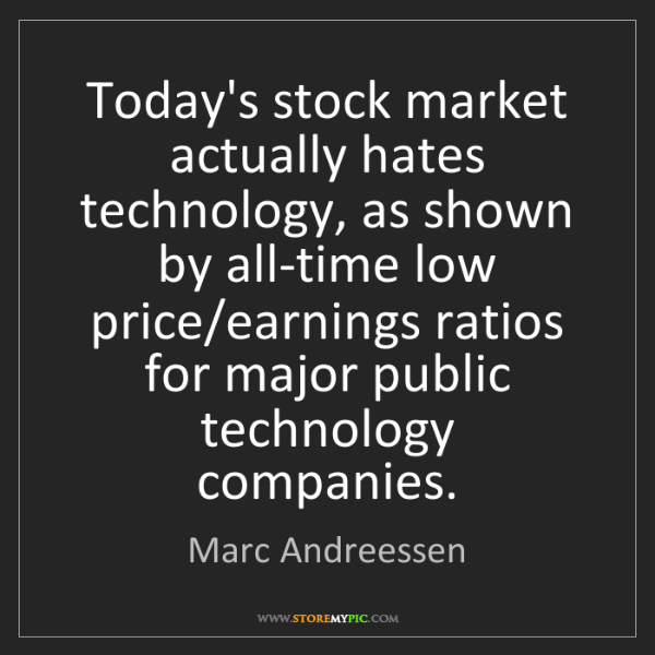 Marc Andreessen: Today's stock market actually hates technology, as shown...