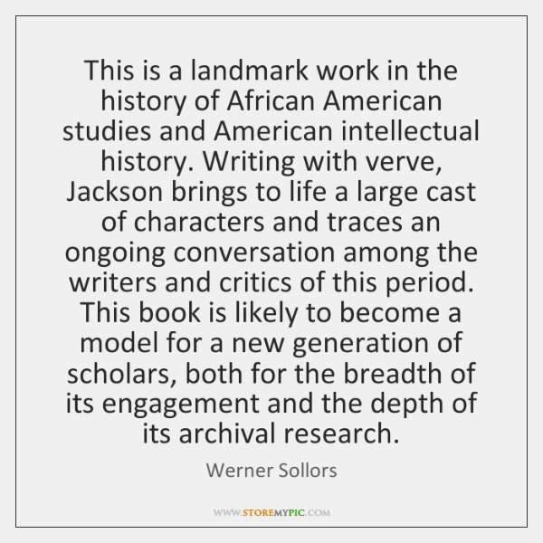 This is a landmark work in the history of African American studies ...