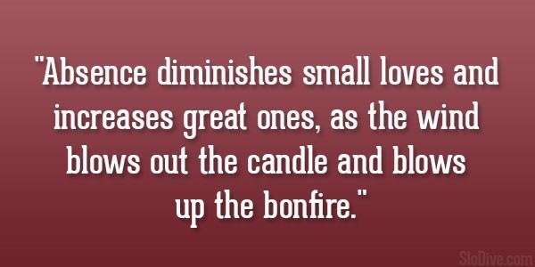 Absence diminishes small loves and increase great ones as the wind blows out the candl