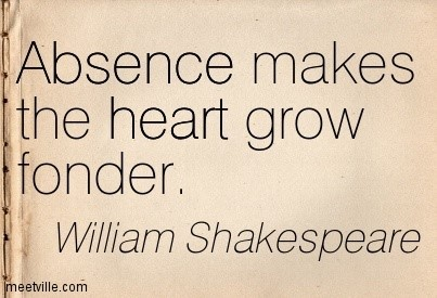 Absence makes the heart grow fonder shakespeare